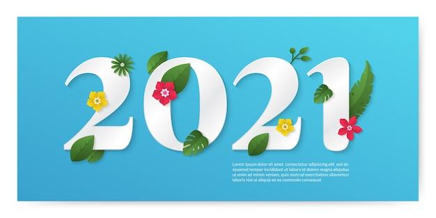 Feliz año nuevo sobre fondo de color pastel en estilo de corte de papel