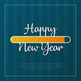 Feliz año nuevo tarjeta 2019 tema. botón amarillo de tiempo de carga en el fondo de la tira verde