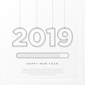 Feliz año nuevo tarjeta 2019 tema. botón de tiempo de carga de la tira con la suspensión de cuerda sobre fondo blanco