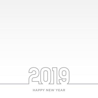 Feliz año nuevo tarjeta 2019 tema. línea gris sobre fondo blanco vector