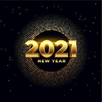 Feliz año nuevo tarjeta de deseos de oro brillante 2021