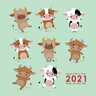 Feliz año nuevo tarjeta de felicitación. el año del buey.