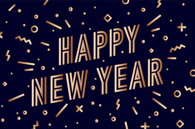 Feliz año nuevo. tarjeta de felicitación con inscripción feliz año nuevo. estilo dorado brillante geométrico para feliz año nuevo o feliz navidad. fondo de vacaciones, tarjeta de felicitación. ilustración