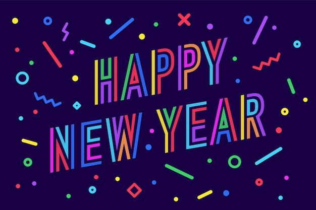 Feliz año nuevo. tarjeta de felicitación con inscripción feliz año nuevo
