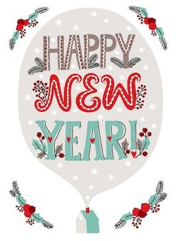Feliz año nuevo tarjeta de felicitación de letras con decoración navideña