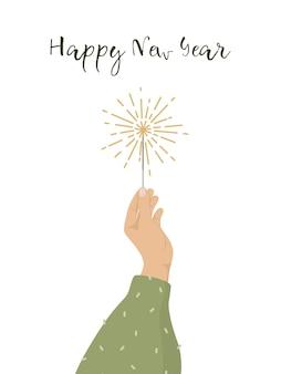 Feliz año nuevo tarjeta de felicitación con mano sosteniendo una bengala