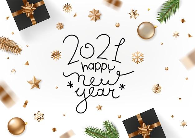 Feliz año nuevo . tarjeta de felicitación navideña