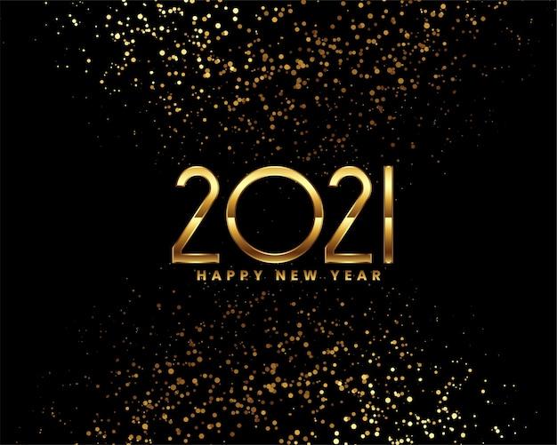 Feliz año nuevo tarjeta de felicitación negra y dorada