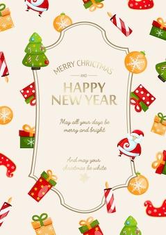 Feliz año nuevo y tarjeta festiva navideña con inscripción de saludo