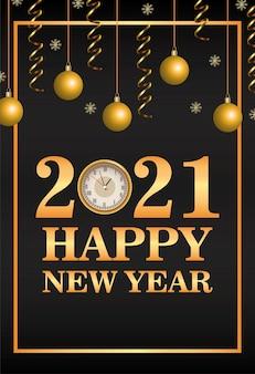 Feliz año nuevo tarjeta de letras con bolas colgando ilustración