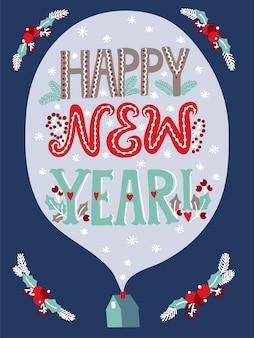 Feliz año nuevo tarjeta de letras con frase y casa.