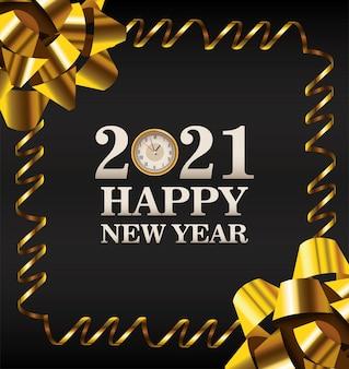 Feliz año nuevo tarjeta de letras con ilustración de marco de arcos dorados