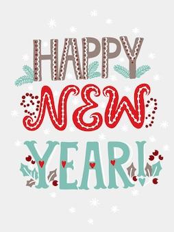 Feliz año nuevo tarjeta de letras.