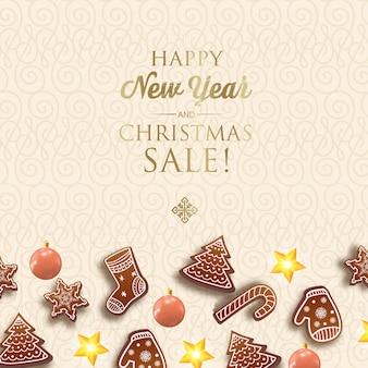 Feliz año nuevo y tarjeta de navidad