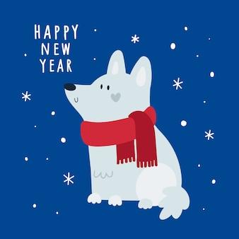 Feliz año nuevo, tarjeta navideña festiva con cachorro en el fondo con copos de nieve