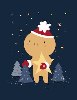 Feliz año nuevo, tarjeta navideña festiva con galleta de hombre de pan de jengibre