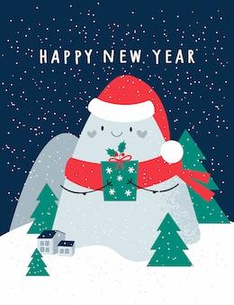 Feliz año nuevo, tarjeta navideña festiva con lindas montañas, árboles de navidad. casas en el fondo con copos de nieve