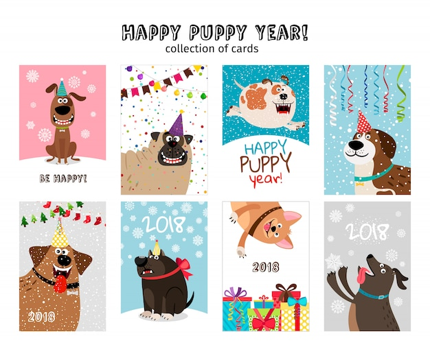 Feliz año nuevo, tarjetas de cachorro con lindos y divertidos perros con adornos navideños.