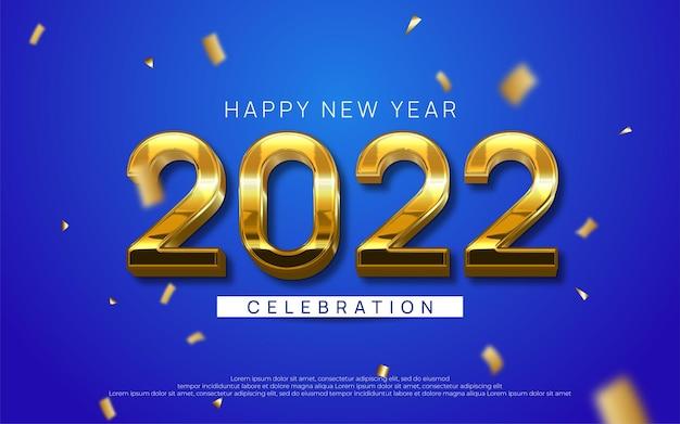 Feliz año nuevo texto editable número 2022 con estilo dorado 3d sobre fondo azul