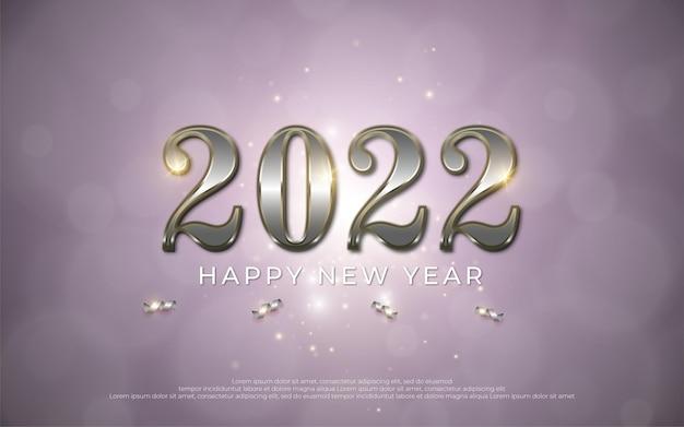 Feliz año nuevo texto editable número 2022 con estilo de metal 3d sobre fondo degradado