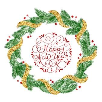 Feliz año nuevo texto de letras de caligrafía con corona de navidad