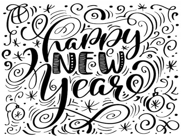 Feliz año nuevo texto de letras a mano. caligrafía artesanal navideña