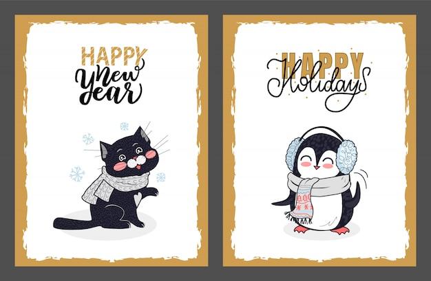 Feliz año nuevo y vacaciones tarjetas de felicitación