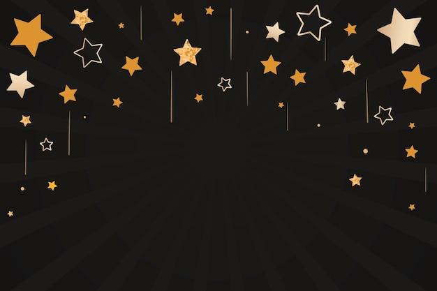 Feliz año nuevo vector celebración de estrellas doradas saludo fondo negro