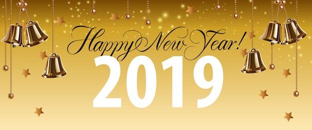 Feliz año nuevo, veintinueve letras con campanas de oro.