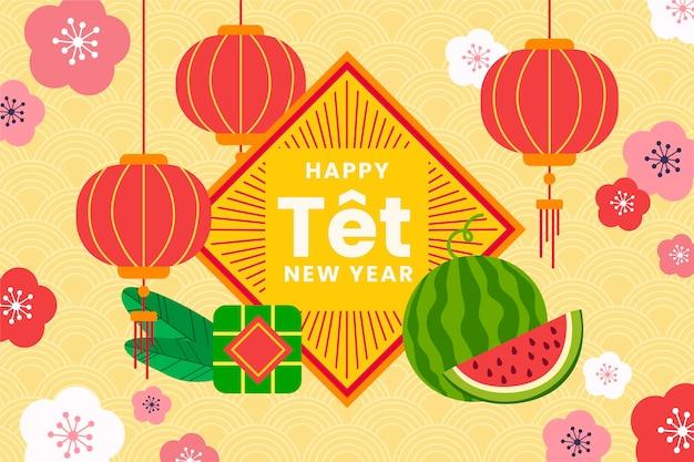 Feliz año nuevo vietnamita 2021 con pastel tet