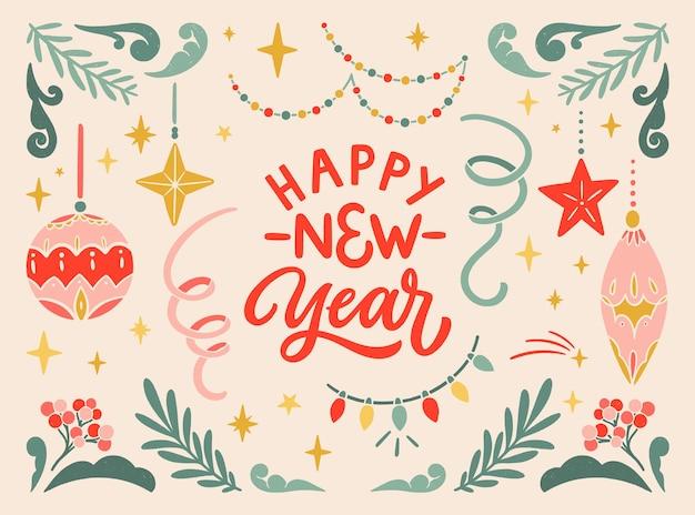 Feliz año nuevo vintage saludo postal banner tipográfico en linóleo elementos florales coloridos