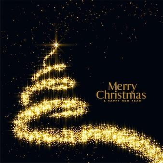 Feliz árbol de navidad en brillo y brillo