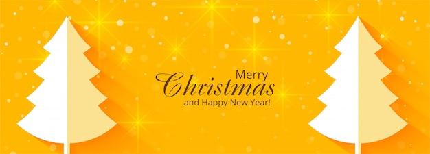 Feliz árbol de navidad y feliz año nuevo banner de celebración