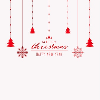 Feliz árbol de navidad y fondo de decoración de copos de nieve