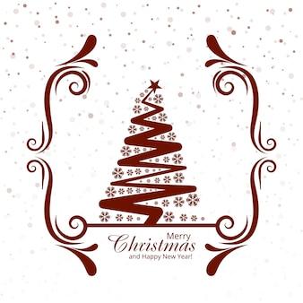 Feliz árbol de navidad con fondo de festival de tarjeta