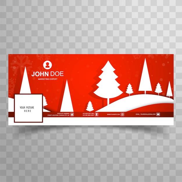 Feliz árbol de navidad con fondo de plantilla de banner de facebook