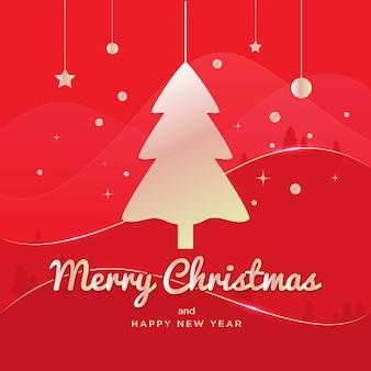 Feliz árbol de navidad en líneas rojas y doradas