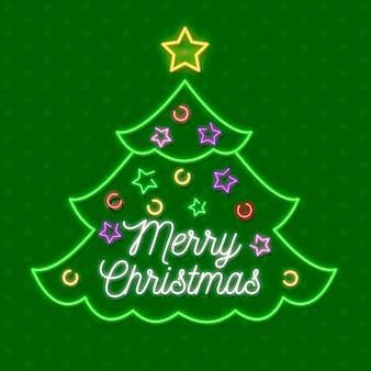 Feliz árbol de navidad en neón