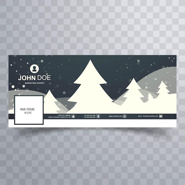 Feliz árbol de navidad con plantilla de banner de facebook colorido