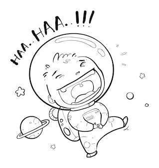 Feliz astronauta doodle