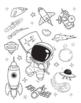 Feliz, astronauta, garabato