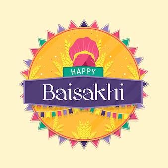 Feliz baisakhi en diseño plano