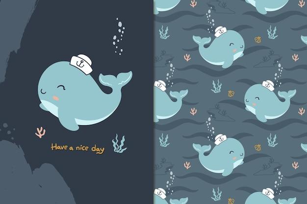 Feliz, ballena, seamless, patrón