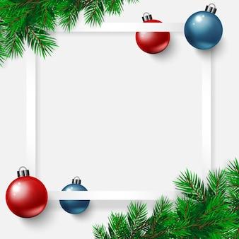Feliz bandera del día de navidad con vector, estrellas doradas, bolas de navidad rojo azul blanco backgro
