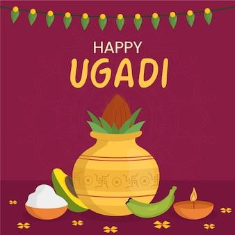 Feliz bandera de ugadi