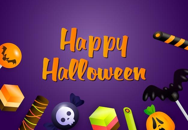 Feliz banner de halloween con dulces