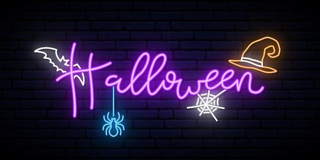 Feliz banner de neón de halloween.