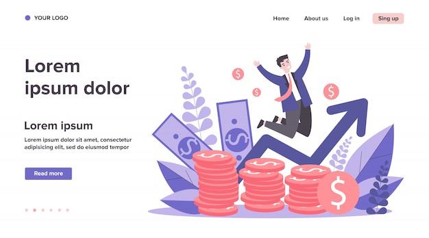Feliz banquero saltando sobre monedas