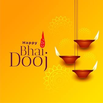 Feliz bhai dooj hermosa tarjeta de felicitación amarilla