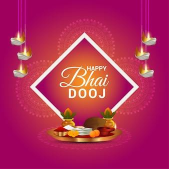 Feliz bhai dooj ilustración creativa y puja thali
